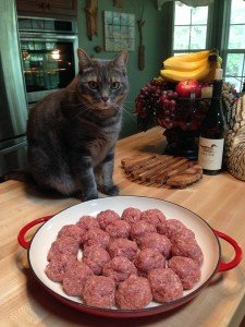 Homemade raw meat cat food